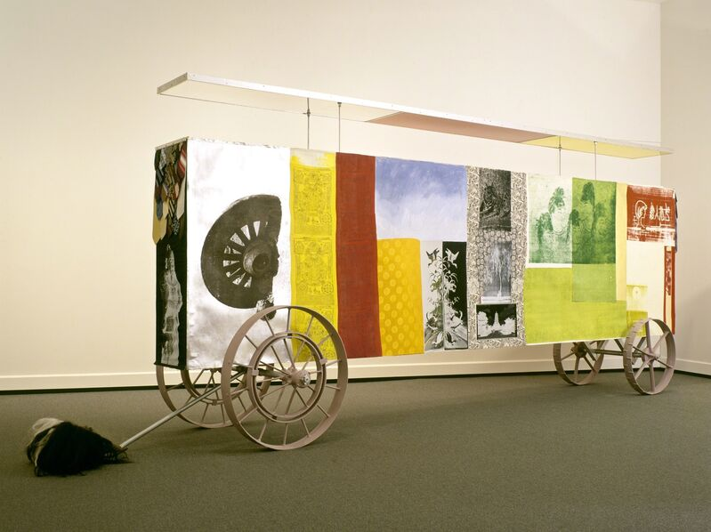 Robert Rauschenberg, 'Sino-Trolley / ROCI CHINA', 1986, Mixed Media, Acrylic and fabric collages on fabric laminated paper on aluminum support with objects, UCCA