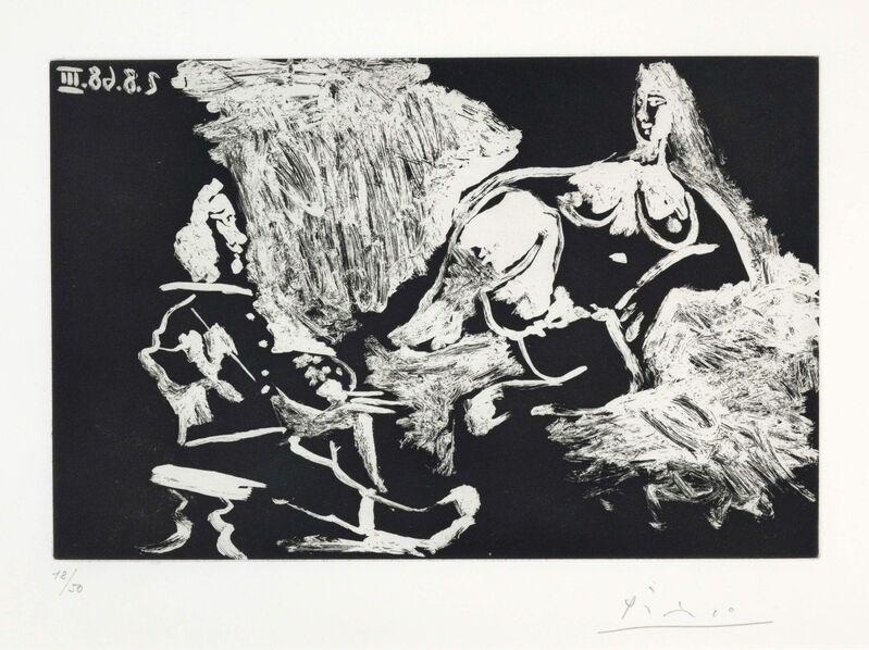 Pablo Picasso, 'Peintre avec un modèle à demi allongé, from La Série 347', 1968, Print, Aquatint on Rives paper, Christie's