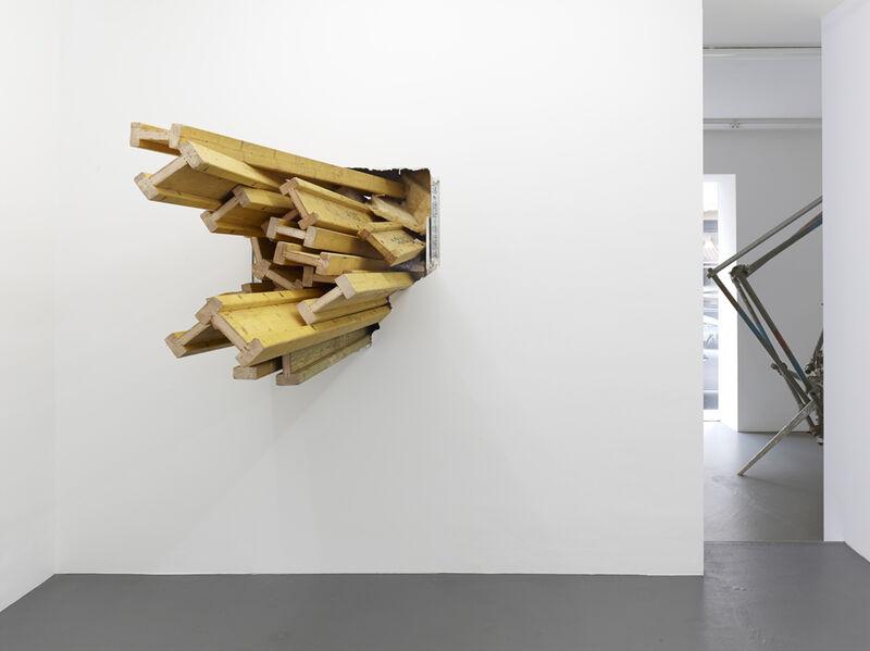 Kai Richter, 'durchgestossen', 2013, Installation, Wooden DOKA beams, Galerie Christian Lethert