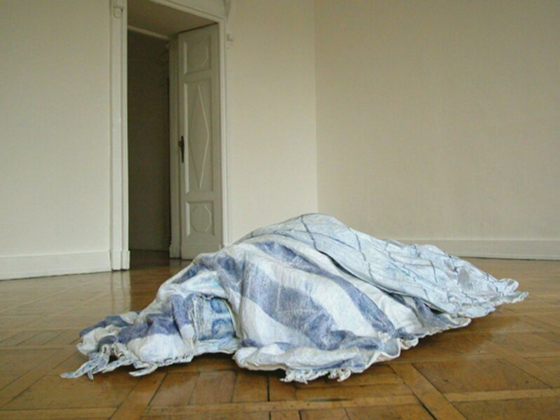 Luisa Rabbia, 'Sleeping Landscape', 2005, Mixed Media, Blue pencil, white acrylic paint, fabric, papier-mâché, Giorgio Persano