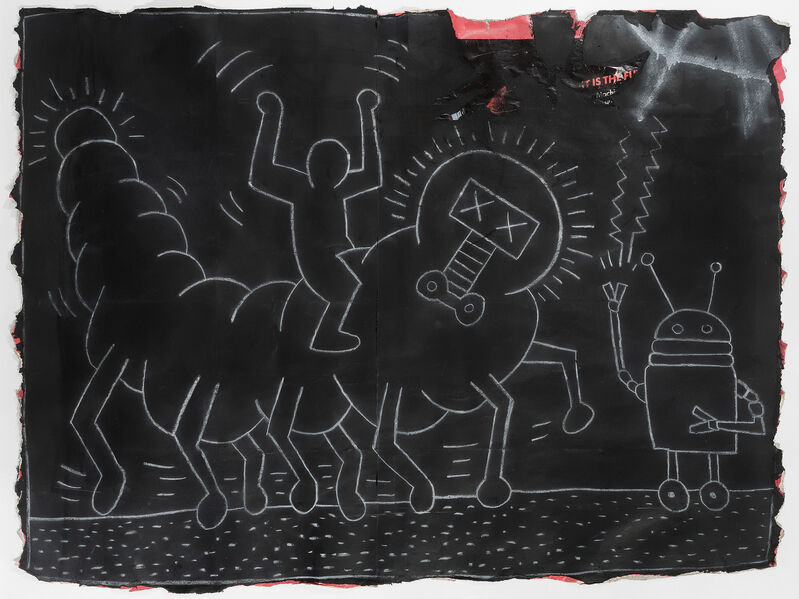 Keith Haring, 'Untitled (Subway Drawing)', circa 1980, Drawing, Collage or other Work on Paper, White chalk drawing on black paper, Tate Ward Auctions