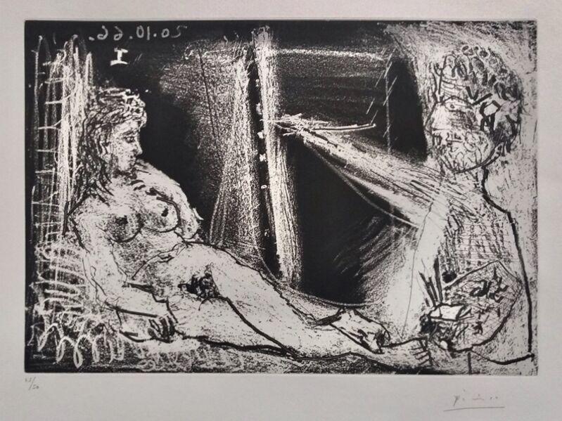 Pablo Picasso, 'Painter in Half-figure and Reclining Model', 1966, Print, Original Aquatint on BFK Rives Wove Paper, Thou Art