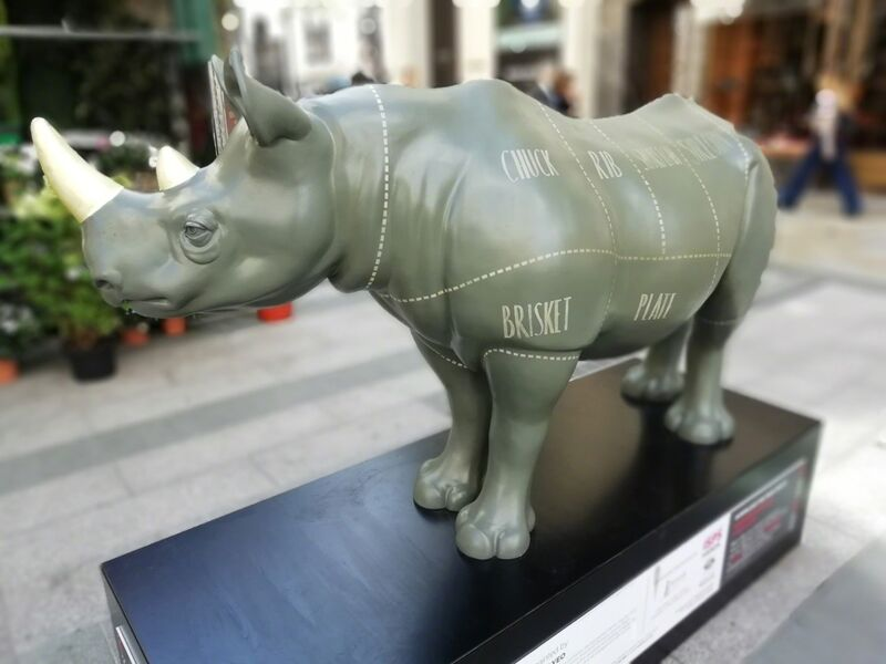Jonathan Yeo, 'Final Cuts', 2018, Sculpture, Rhino: fibreglass rhino (fire retardant) with internal armature Finish: Oil paint and varnishes, Tusk Benefit Auction