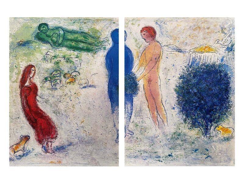 """Marc Chagall, '""""The Judgement of Chloé (Le jugement de Chloé),"""" from Daphnis et Chloé (Cramer 46; Mourlot 315)', 1977, Print, Offset lithograph on wove paper, Art Commerce"""