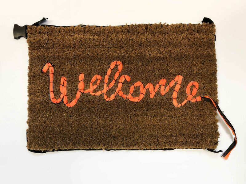 Banksy, 'Welcome Mat', 2019, Mixed Media, Hand-stitched welcome mat using the fabric from life vests abandoned on the beaches of the Mediterranean, Lougher Contemporary Gallery Auction