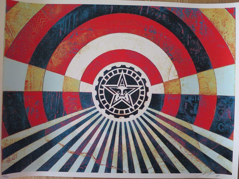 Shepard Fairey, 'Tunnel Vision Version 2 (Alternate Gold)', 2018, Print, Speckletone paper, AYNAC Gallery