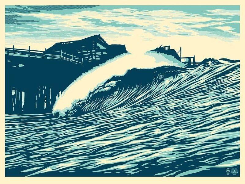 Shepard Fairey, 'Pop Wave Blue Edition', 2016, Print, Blue Inks, New Union Gallery
