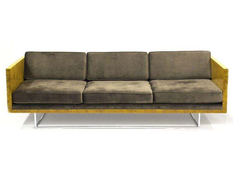 Milo Baughman, 'Olive Burl Sofa', ca. 1970, Design/Decorative Art, Chrome, Olive Burl wood, Upholstery, Patrick Parrish Gallery