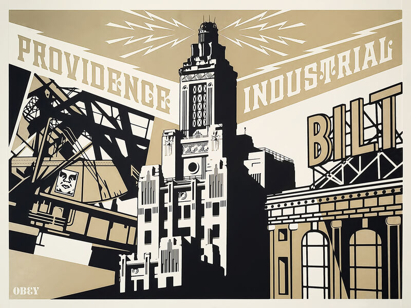 Shepard Fairey, 'Providence Industrial (Gold)', 2010, Print, Screen print in colours on speckle tone paper, Tate Ward Auctions