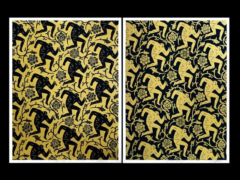 Shepard Fairey, 'Pattern of corruption gold/black (set of 2)', 2015, Print, Rudolf Budja Gallery