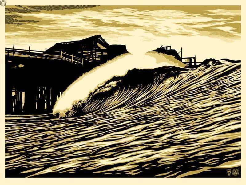 Shepard Fairey, 'Pop Wave Gold Edition', 2016, Print, Gold Metallic Inks, New Union Gallery