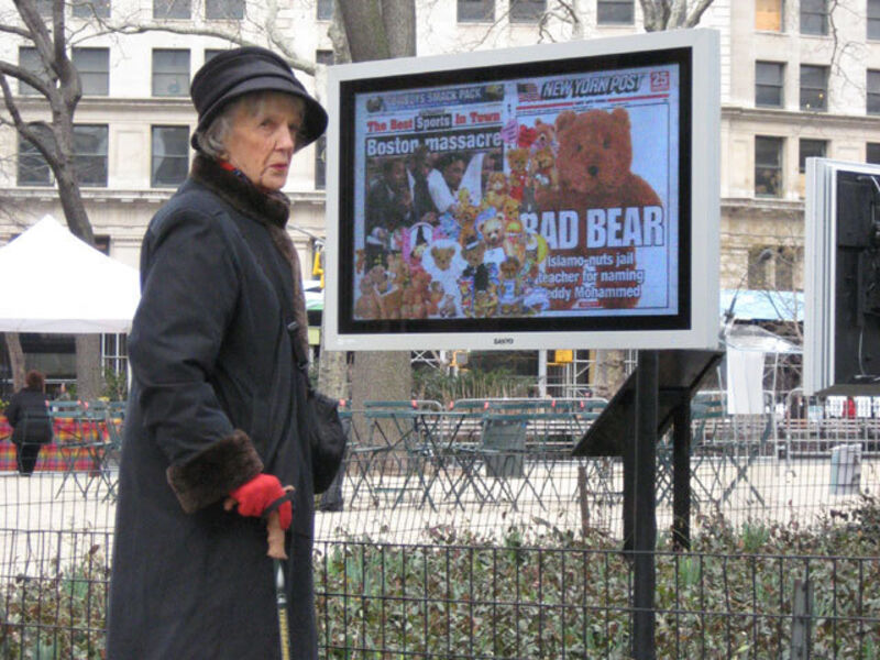 Olia Lialina and Dragan Espenschied, 'Online Newspapers: New York Post', 2008, Installation, Scanned newspapers, video screens, Madison Square Park