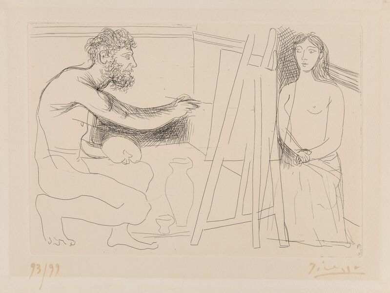 Pablo Picasso, 'Peintre devant son Chevalet, from Chef-d'Oeuvre Inconnu', 1931, Print, Etching on BFK Rives paper, Heritage Auctions