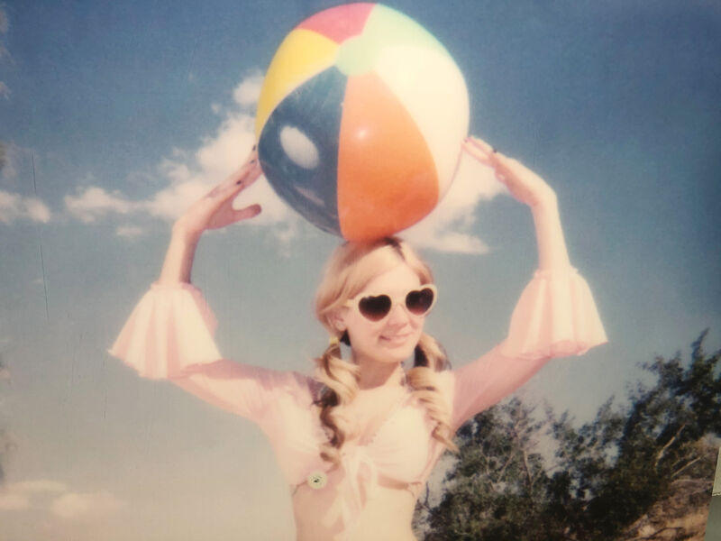 Stefanie Schneider, 'Moneypenny with Beach Ball' (Heavenly Falls)', 2016, Photography, Digital C-Print based on a Polaroid, mounted on Dibond with matte UV-Protection., Instantdreams