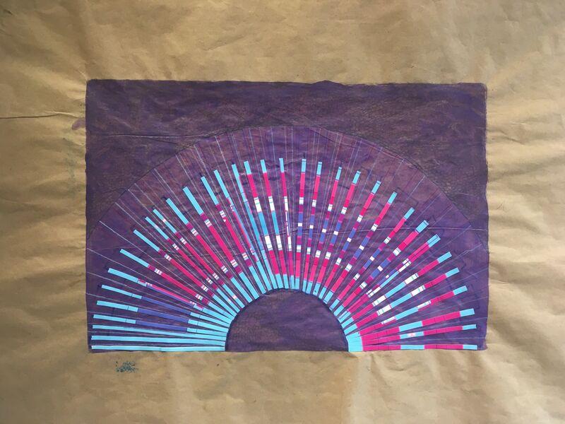 Cassandra Jennings Hall, 'Blue Sunset', 2017, Painting, Mixed Media Collage, Carter Burden Gallery