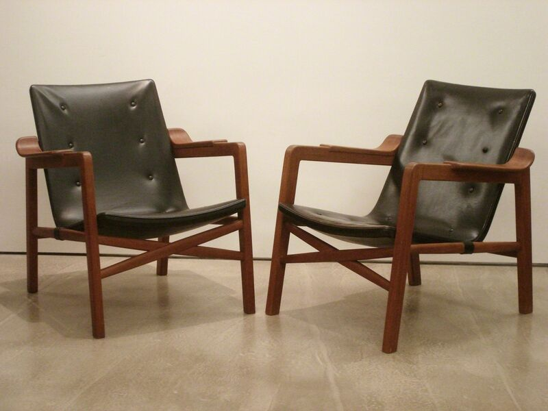 """Edvard and Tove Kindt-Larsen, 'A pair of """"Fireplace Chairs"""" and an Ottoman', 1939, Design/Decorative Art, Teak frame, original black leather upholstery, Vance Trimble"""