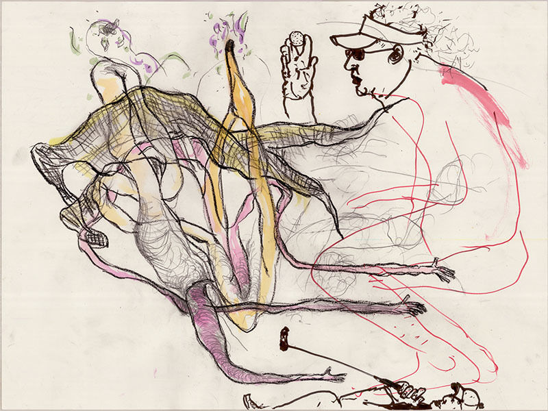 Paul McCarthy, Benjamin Weissman, Naotaka Hiro, 2014, Drawing, Collage or other Work on Paper, Marker, Ink, Pastel, watercolor, acrylic, charcoal on paper, The Box