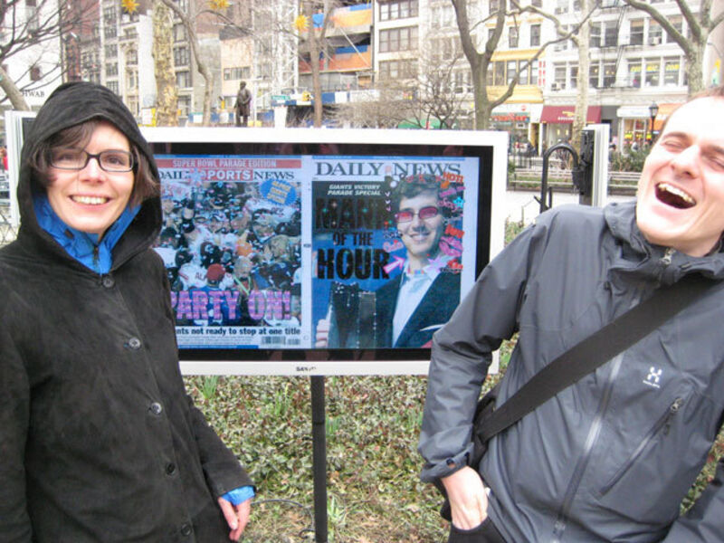Olia Lialina and Dragan Espenschied, 'Online Newspapers: The Daily News', 2008, Installation, Scanned newspaper front pages, video screens, gif effects, Madison Square Park