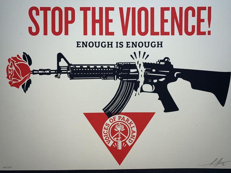 "Shepard Fairey, 'Parkland Voice's ""Stop the Violence"" Voices of Parkland LA Premiere at the Ace Hotel, Downtown Los Angeles.', 2020, Print, Fine Art Paper on Cream Speckletone., New Union Gallery"