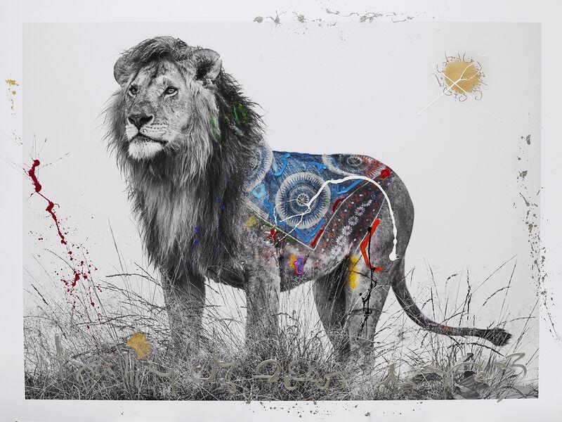 Arno Elias, 'Roy (Amboselli, Kenya)', 2021, Photography, Hand-embelished: unique painting, diamond dust, Markowicz Fine Art