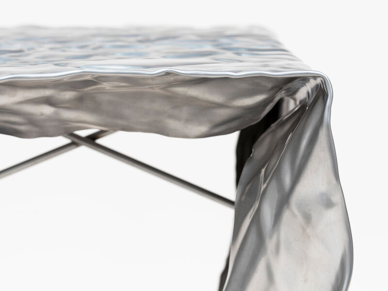 Christopher Prinz, 'Wrinkled Outdoor Stool', 2019, Design/Decorative Art, Stainless Steel, Patrick Parrish Gallery
