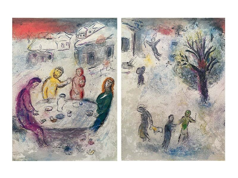"""Marc Chagall, '""""The Meal at Dryas's House (Le repas chez Dryas),"""" from Daphnis et Chloé (Cramer 46; Mourlot 334)', 1977, Print, Offset lithograph on wove paper, Art Commerce"""