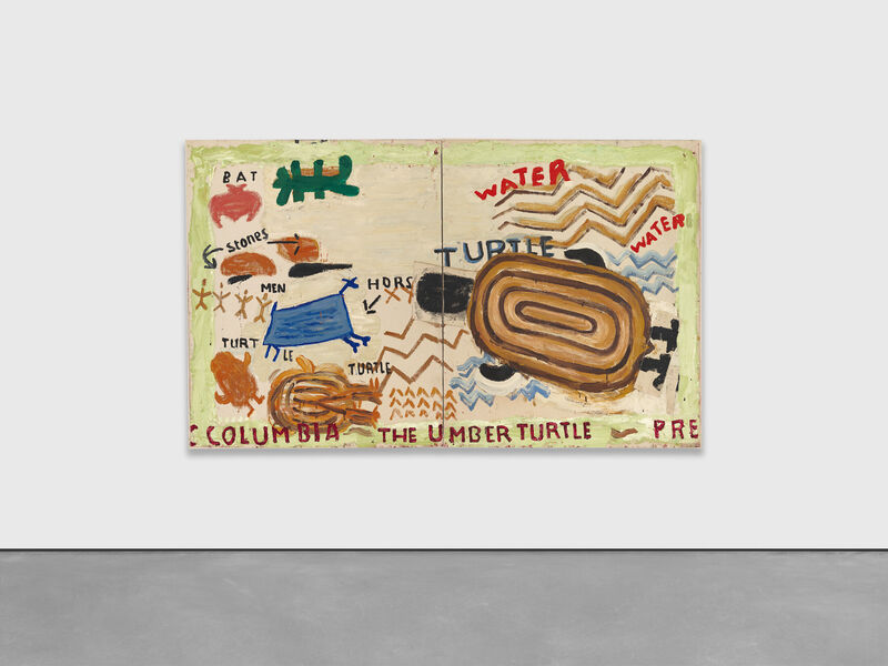 Rose Wylie, 'The Umber Turtle', 2021, Painting, Oil on canvas in two (2) parts, David Zwirner