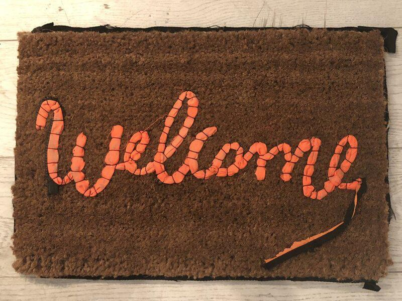 Banksy, 'Welcome Mat', 2020, Design/Decorative Art, Hand-stitched fabric from life vests abandoned on the Mediterranean beaches, Dellasposa