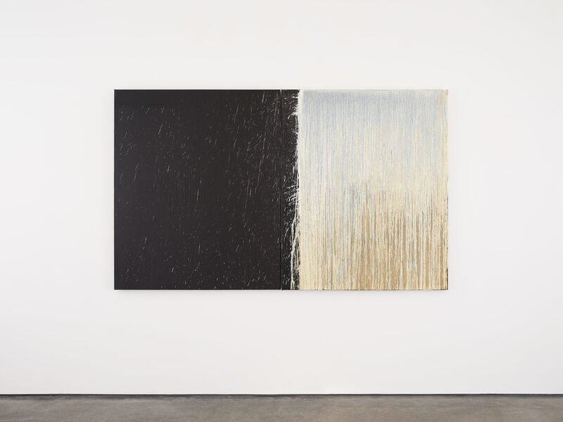 Pat Steir, 'White and Black Diptych with White Splashes', 2009, Painting, 2 parts work, oil on canvas, Galerie Thomas Schulte