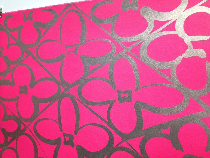 Judy Ledgerwood, 'Chromatic Patterns After the Graham Foundation - Pink', 2014, Print, Lithograph and relief print with aluminum dust, Manneken Press