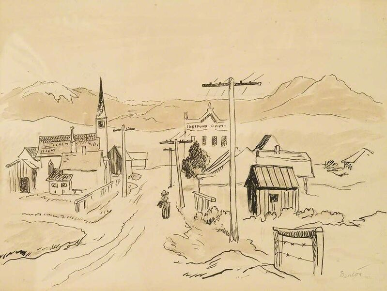 Thomas Hart Benton, 'Western Town with Road to Mountain', ca. 1950, Drawing, Collage or other Work on Paper, Graphite and sepia wash, Kiechel Fine Art