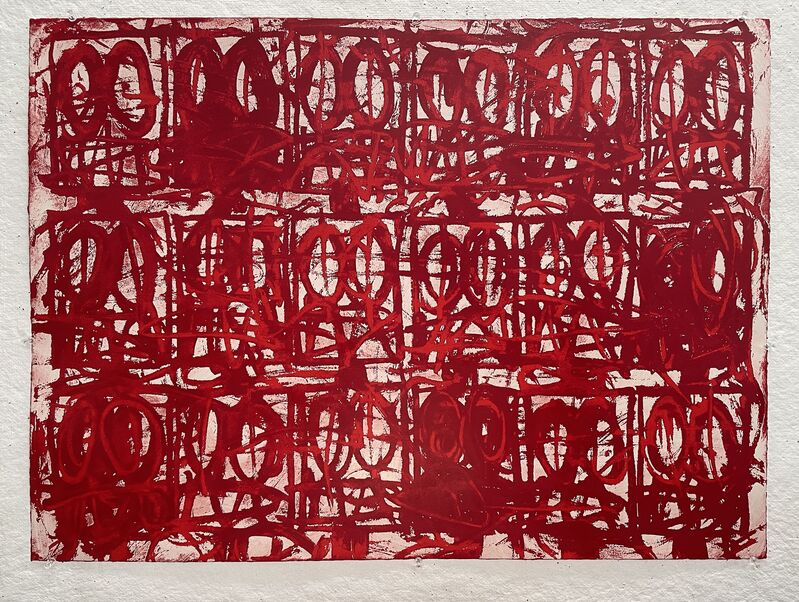 Rashid Johnson, 'Untitled Anxious Red', 2021, Print, Silk screen resist with hand applied pigment, Make-A-Wish Foundation Benefit Auction