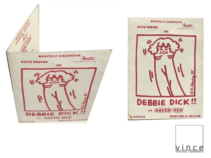 """Keith Haring, '""""Debbie Dick"""", 1987, 4D Nightclub NYC, Promotional Card for Safe Sex & Mentor Contraceptives, RARE', 1987, Ephemera or Merchandise, Lithograph on card stock, VINCE fine arts/ephemera"""