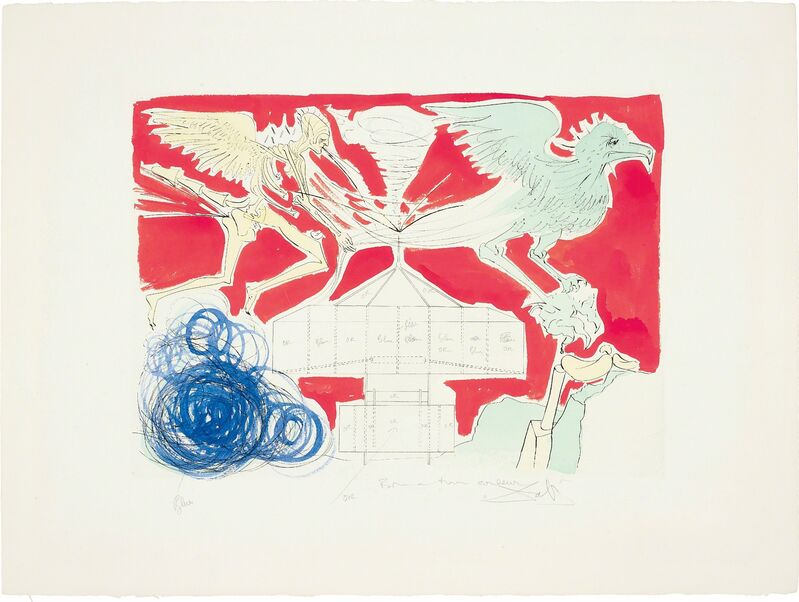 Salvador Dalí, 'L'Aéroplane (Aeroplane), for Hommage à Leonardo da Vinci (American Inventions)', 1975, Print, Drypoint with extensive hand-colouring in gouache, on Arches paper, with full margins, Phillips