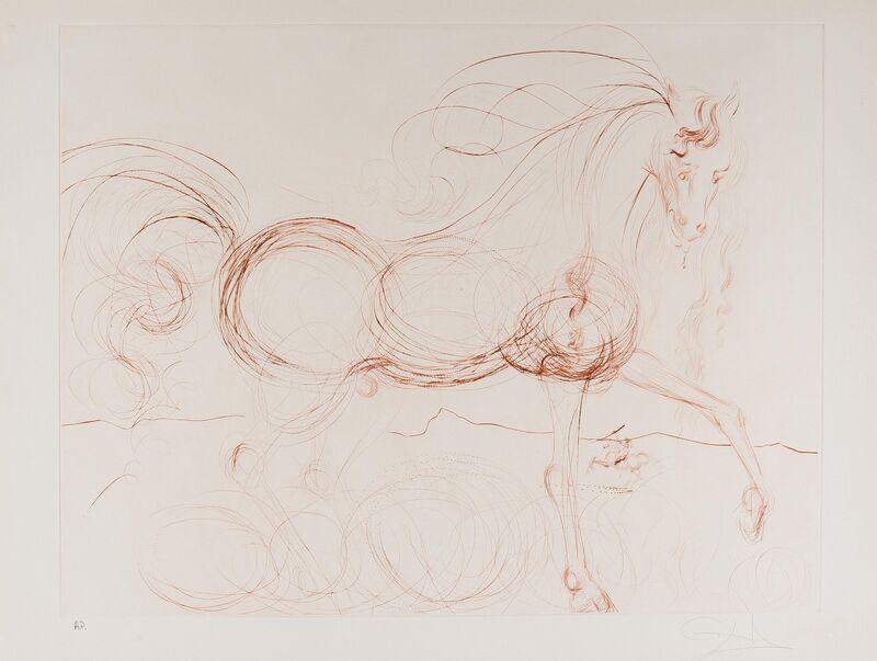 Salvador Dalí, 'L'Etalon Blanc (Hommage au cheval) (M & L 639a)', 1973-1974, Print, The scare etching printed in sepia, Forum Auctions