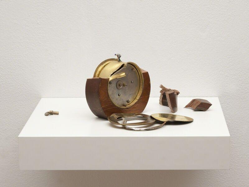 Liliana Porter, 'To Fix It II (round clock)', 2016, Sculpture, Metal clock, figurine on painted shelf, Hosfelt Gallery