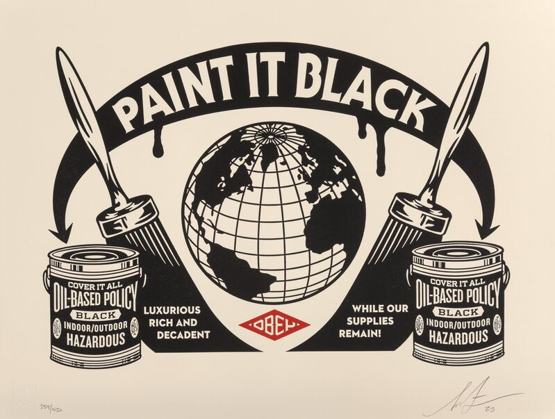 Shepard Fairey, 'Paint it Black Letterpress', 2020, Print, Letterpress print in colors on cream cotton paper, Heritage Auctions