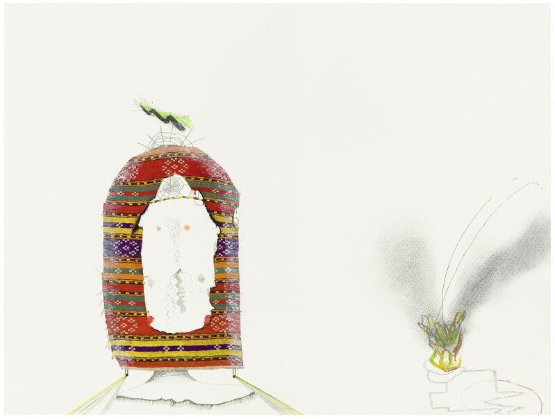 Nilbar Güres, 'Untitled', 2014, Other, Pencil, felt-tip-pen, coloured pencil, fabric, acrylic on paper, Galerie Martin Janda