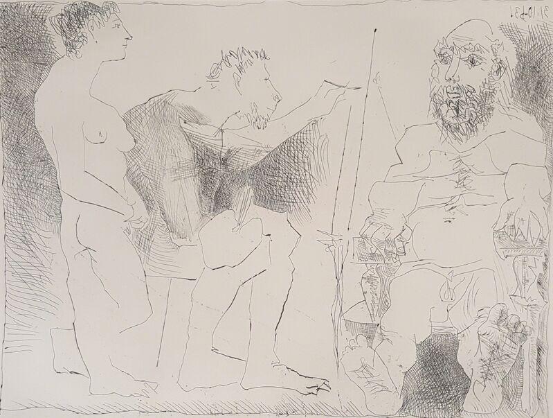 Pablo Picasso, 'Painter At Work (Peintre Au Travail)', 1963, Print, Etching on paper, Baterbys