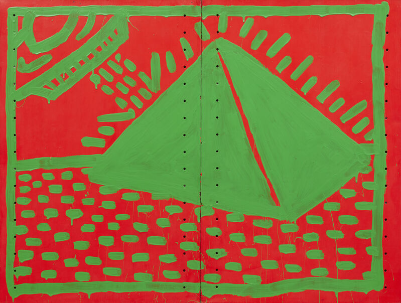 Keith Haring, 'Untitled', 1982, Painting, Day-glo enamel paint on metal shelving, Acquavella Galleries