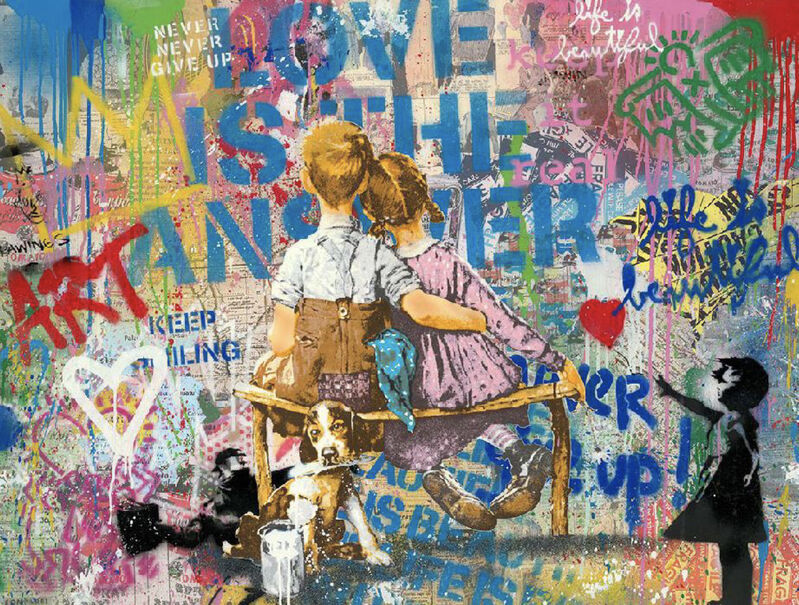Mr. Brainwash, 'Work Well Together', 2020, Drawing, Collage or other Work on Paper, Silkscreen and mixed media on paper, Galerie Michael