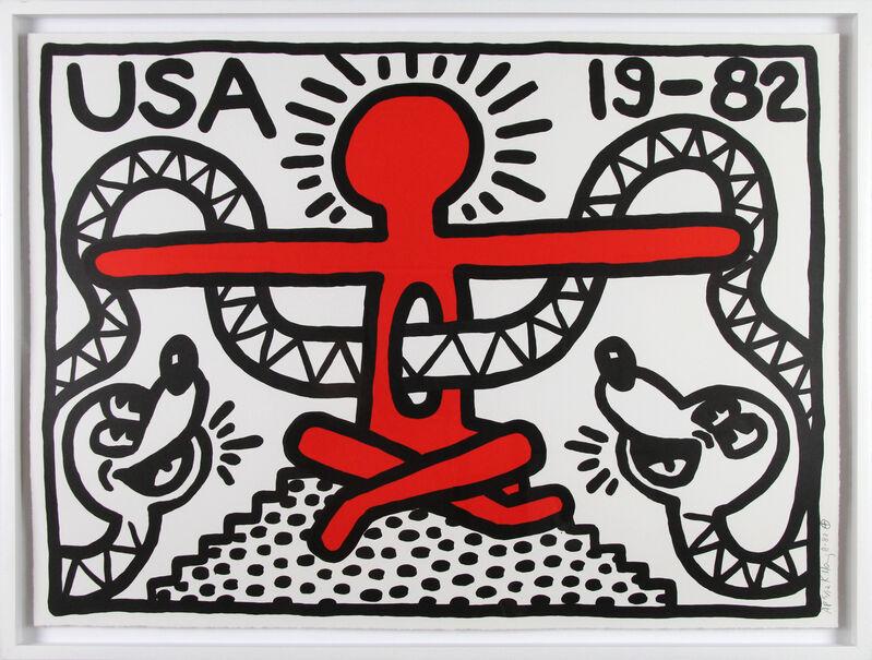 Keith Haring, 'USA 19-82', 1982, Print, Lithograph, Gormleys Fine Art