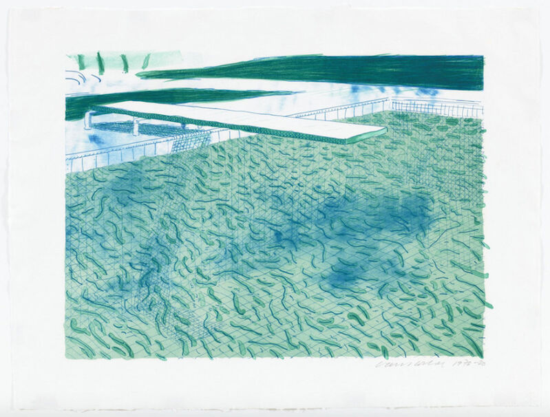 David Hockney, 'Lithograph of Water Made of Lines, a Green Wash, and a Light Blue Wash', 1978-1980, Print, Lithograph in colors, on TGL handmade paper, Upsilon Gallery
