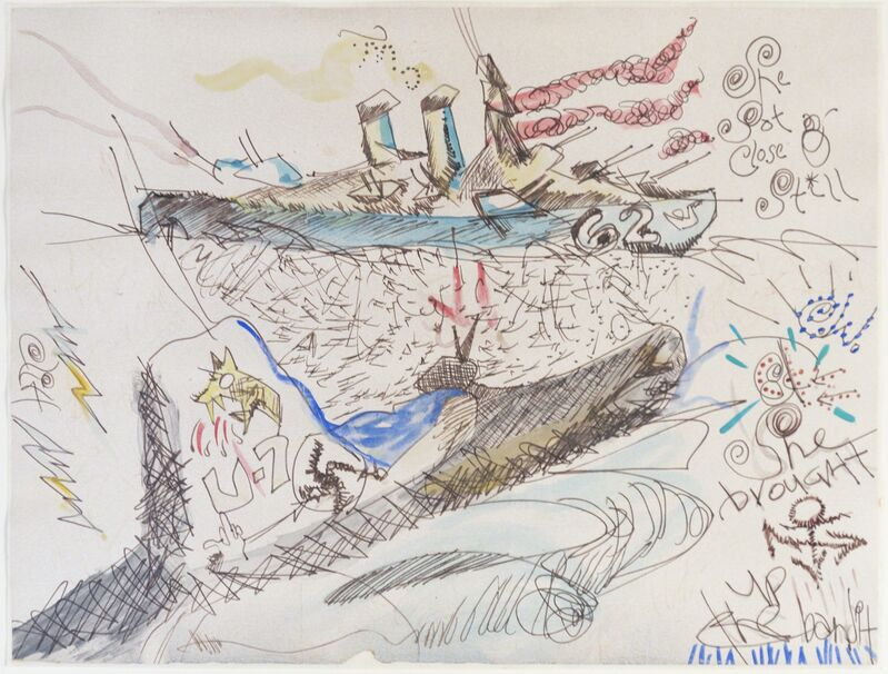 H.C. Westermann, 'She Brought Up the Bandit', ca. 1968, Drawing, Collage or other Work on Paper, Graphite, watercolor and ink on wove paper, Iris Project
