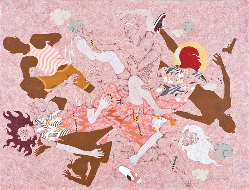 Chien-Chiang Hua, 'Anniversary - The military equipment game', 2013, Painting, Gouache on canvas, Aki Gallery