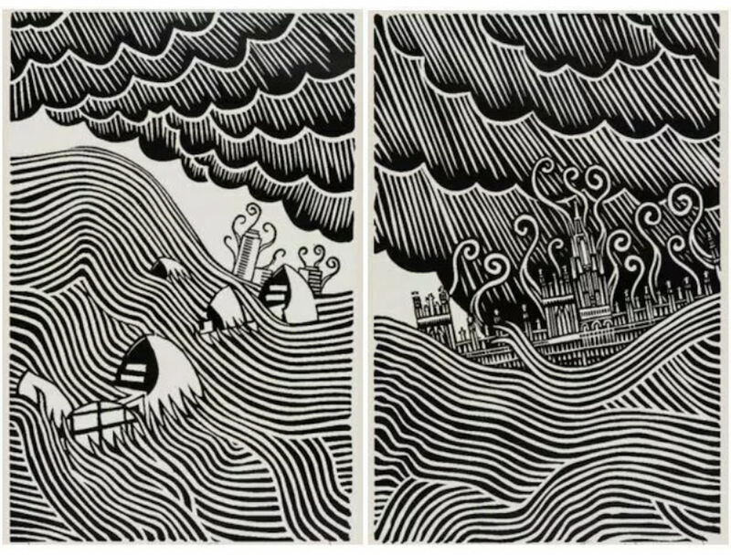 Stanley Donwood, 'Houses of Parliament & Flood Barrier (Matching Number Set)', 2019, Print, Two colour hand-pulled screen print., Gallery 1890