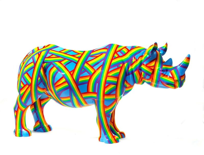 Patrick Hughes, 'The Rainbosceros', 2018, Sculpture, Rhino: fibreglass rhino (fire retardant) with internal armature Finish: Oil with weatherproof glaze, Tusk Benefit Auction