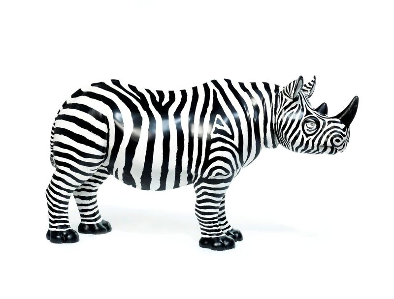Glen Baxter, 'FREDDIE', 2018, Sculpture, Rhino: fibreglass rhino (fire retardant) with internal armature Finish: Black and white masonry paint, Tusk Benefit Auction
