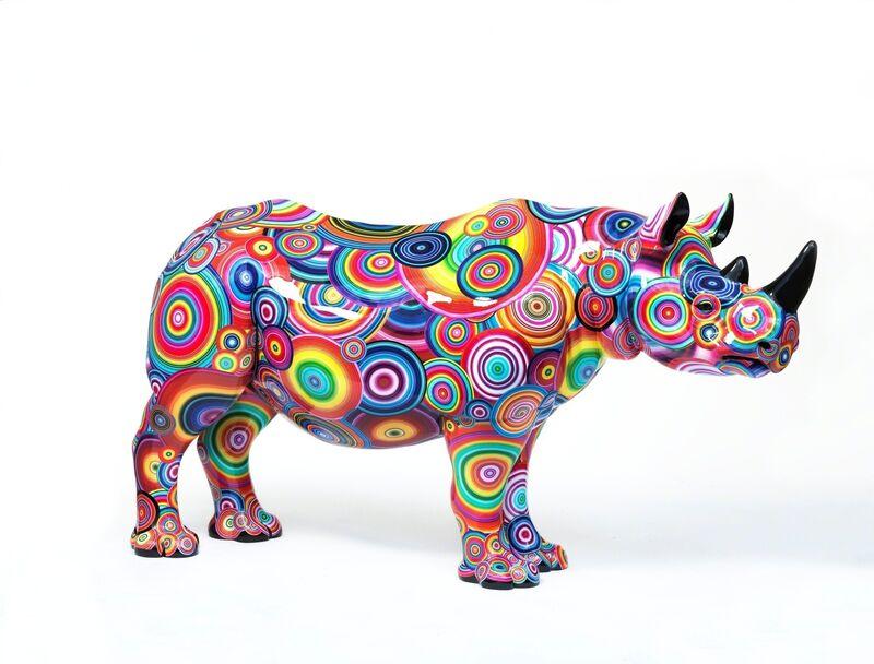 Rob and Nick Carter, 'Spectrum Rhino, 2018', 2018, Sculpture, Rhino: fibreglass rhino (fire retardant) with internal armature Finish: White primer and IJ180 vinyl, Tusk Benefit Auction