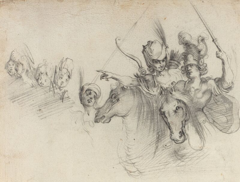 after Jacques Bellange, 'Figures on Horseback [verso]', Drawing, Collage or other Work on Paper, Black chalk on laid paper, National Gallery of Art, Washington, D.C.